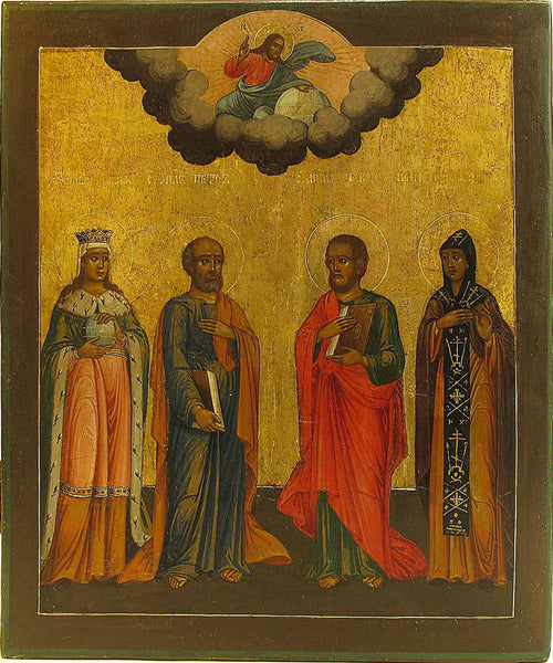 Russian Icon of Saints Olga, Peter, Paul & Xenia | 0026