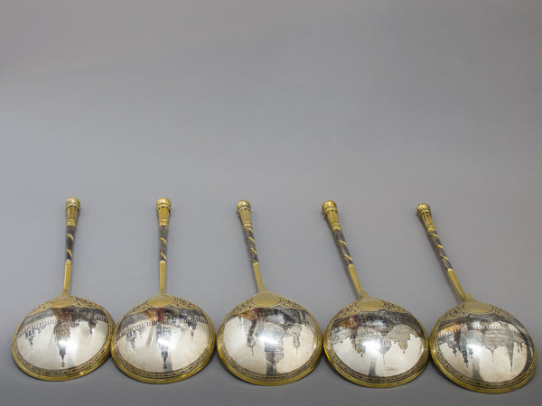 3575 | Five Russian Silver-Gilt & Niello Spoons