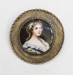 3662 | Silver Plated Brooch with Woman's Portrait Painted on Ceramic