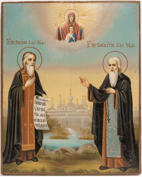 Russian Icon of Saint Zosima & Sovatiy | 3794
