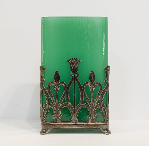 Art Nouveau Sterling Silver & Emerald Green Glass Vase | 4242