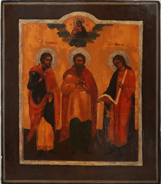4539 | Russian Icon of Three Saints: Samon, Guriy and Aviv