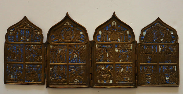 4571 | A RUSSIAN BRONZE ICON OF QUADIPTYCH