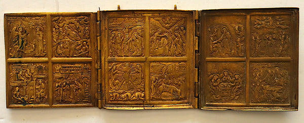 4628 | Russian Bronze Triptych: With Greatest Church Feasts