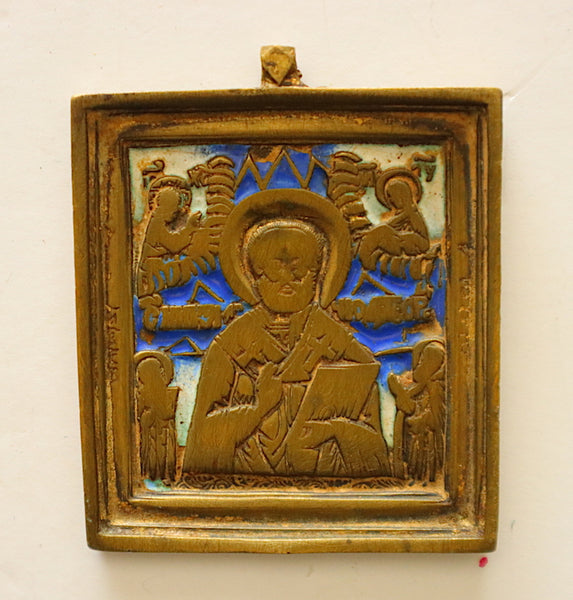 4644 | Russian Bronze: ST NICHOLAS with enamel