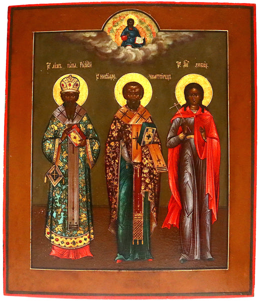 4839 | Russian icon: AN ICON 19th c. SHOWING THREE SAINTS
