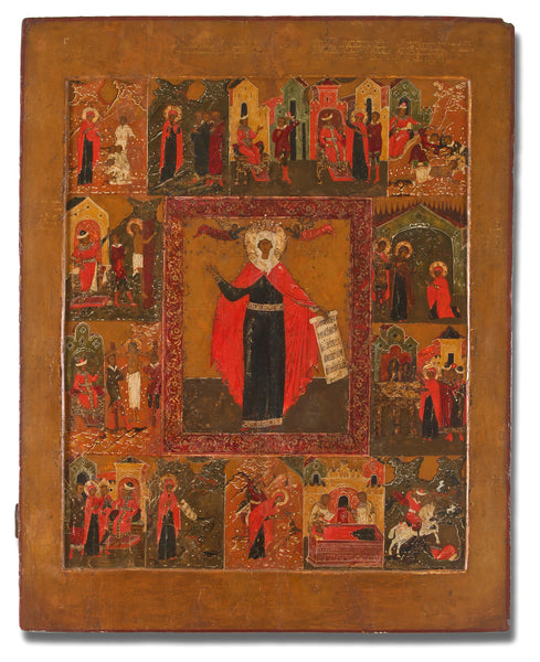 4518 | Russian Large Vita Icon of the Martyr St. Paraskeva with Scenes from Her Life