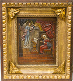 Carved Russian Icon of Annunciation in Shadow Box | 0064