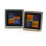 Square Cufflinks with Panoramic Marble Detail