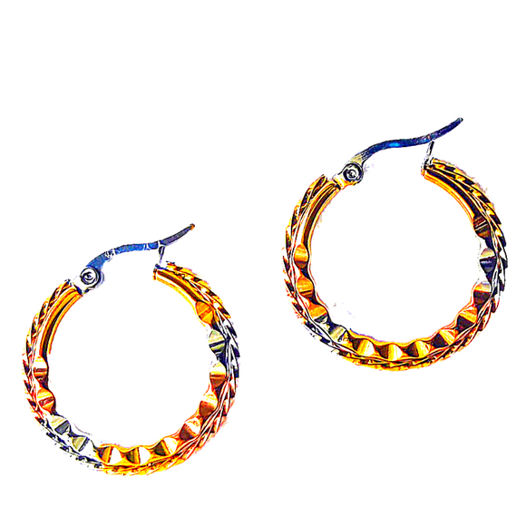 Wavy Patterned Three Tone Earrings