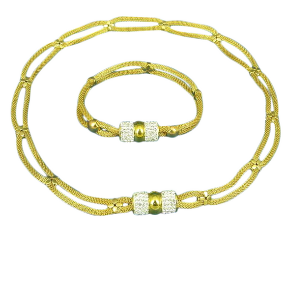 Duo Cord of Gold and Crystal Set