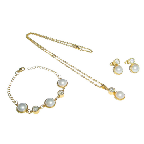 White Pearl Bracelet, Earrings and Necklace Set
