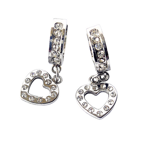Small Hoop Earrings with Dangle Heart Charms