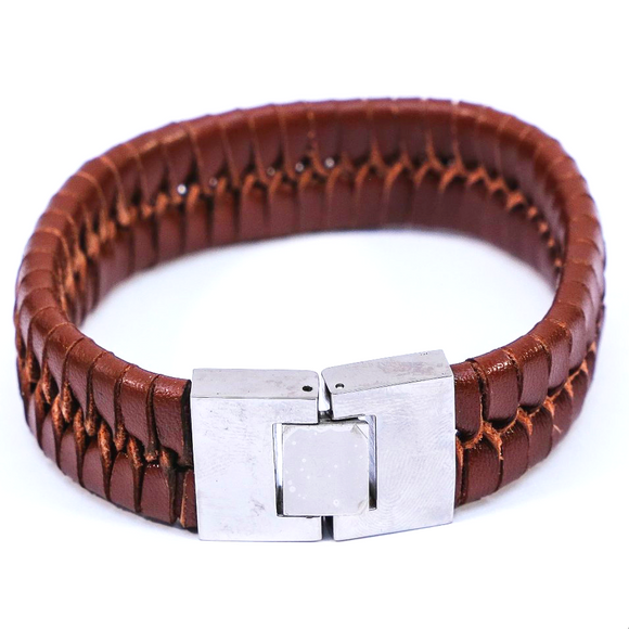 Vintage Weave Bangle (Dark Brown Medium Slim)