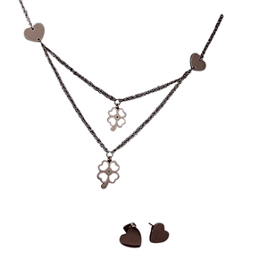 Heart and Flowers Necklace and Earrings Set