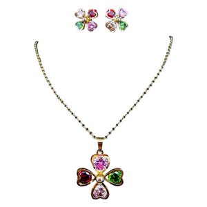 Colourstorm Heart Earrings and Pendant Set