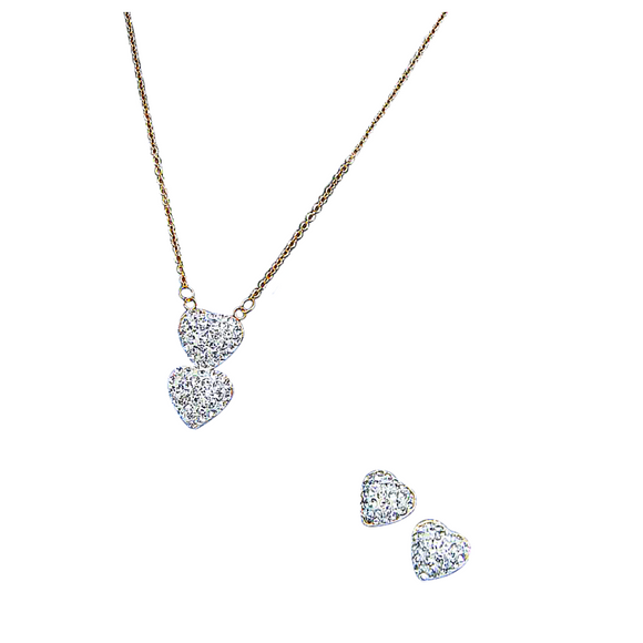 Heart Crystal Earrings and Necklace Set