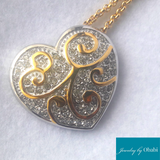 Filigree Heart Pendant and Necklace Set
