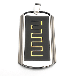 Black with Gold Detail Dog Tag