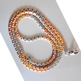 """Interlocked"" Two Tone Plate Necklace"