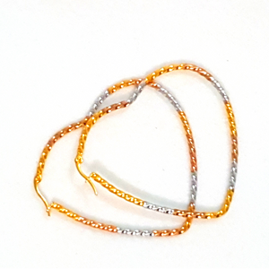 Triple Tone Heart Hoop Earrings