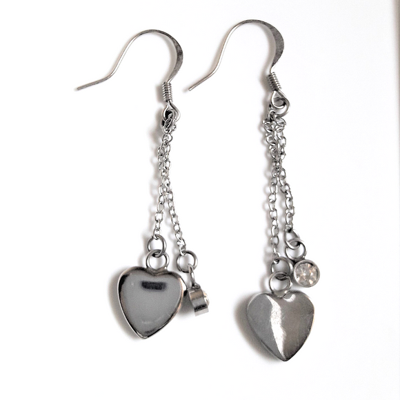 Heart & Crystal Drop Earrings