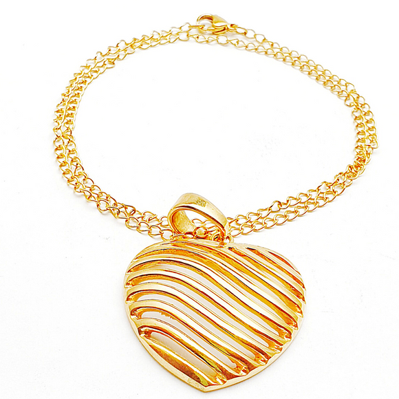 Heart Waves Pendant and Necklace Set