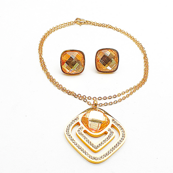 Amber Coloured Stones and Crystals Earrings and Pendant Set
