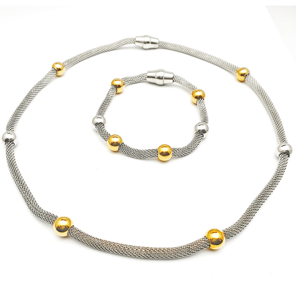 Mesh and Bold Beads Three Tone Bracelet and Necklace Set in Premium Stainless Steel