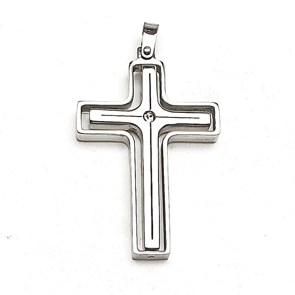 Crystal Accent Spin Cross Pendant