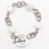 Howlite and Steel Link Bracelet in Premium Stainless Steel