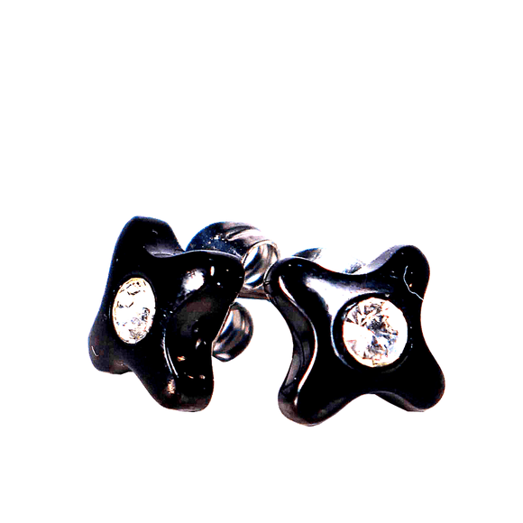 Black Steel Stud Earrings