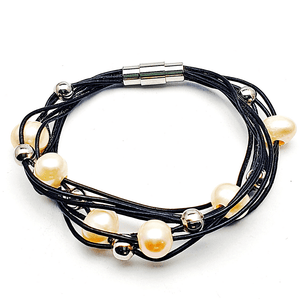 Pearl and Leather Bangle