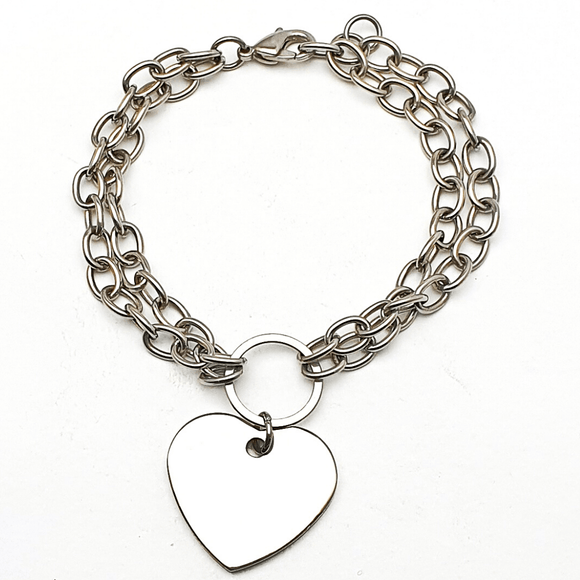 Multi-Strand Bracelet with Heart Charm in Premium Stainless Steel