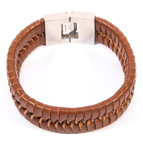 Vintage Weave Bangle (Dark Brown Long Slim)