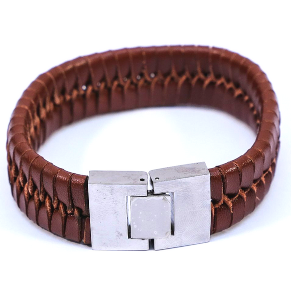 Vintage Weave Bangle (Dark Brown Medium)