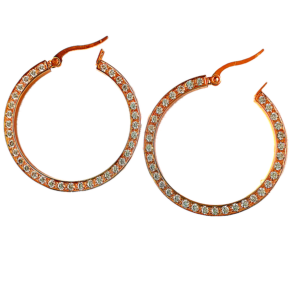 Slim Hoop with Crystals Earrings