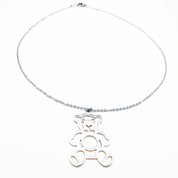 Bear with Crystal Pendant and Necklace Set