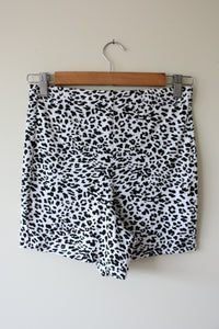 black and white animal print stretch bike shorts