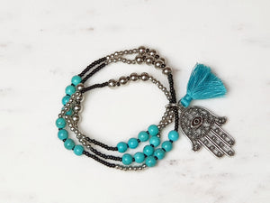 Bead Bracelet Hamsa Jewellery Black - Dusty Sea
