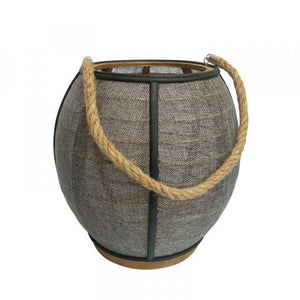 Black/Grey Wood & Jute Lantern Candle holder - Dusty Sea