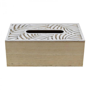 Carved Palm Tissue Box Wooden Decor - Dusty Sea