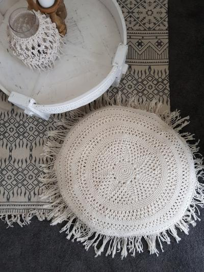 Crochet Round Floor Cushion Soft Furnishings - Dusty Sea