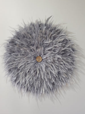 Grey Feather Juju and Button Centre Home Decor - Dusty Sea