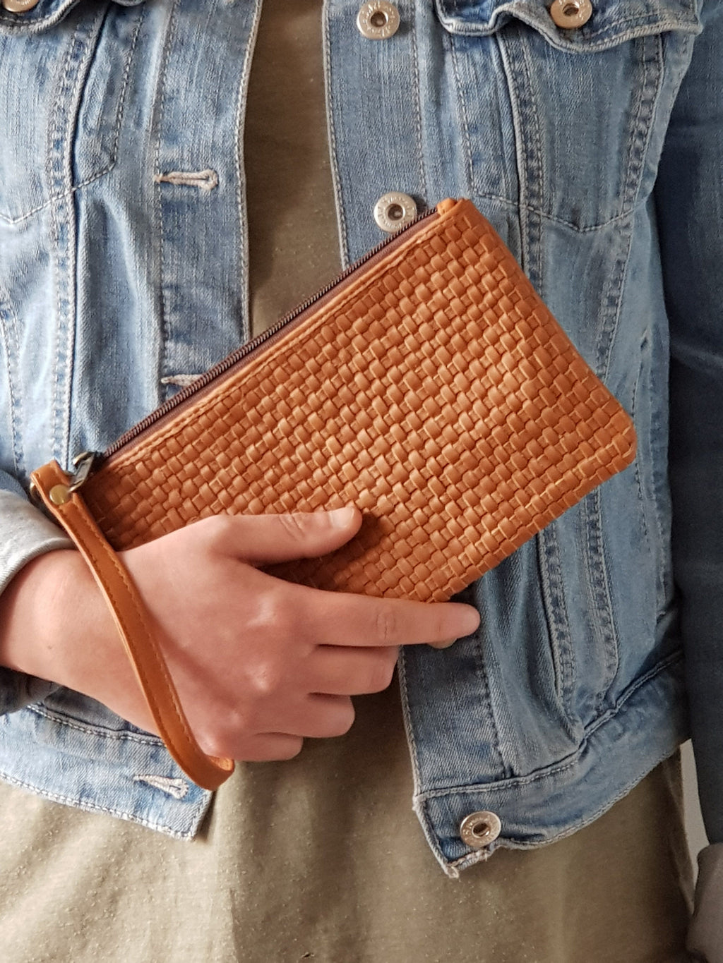 Handwoven Leather Clutch Leather Goods Tan - Dusty Sea