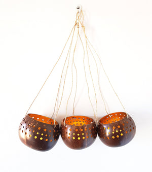 Hanging Gold Coconut Bowls Wooden Decor - Dusty Sea