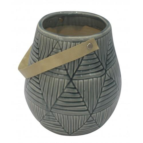 Light Blue Vase/Planter with Strap Ceramics - Dusty Sea