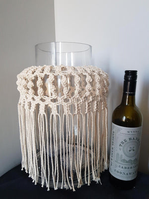 Macrame Vase Large Home Decor - Dusty Sea