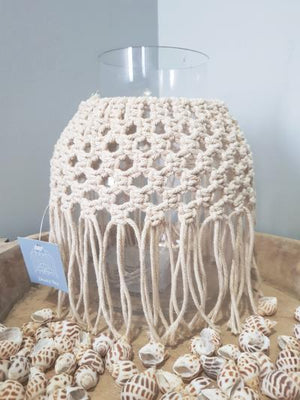 Macrame Vase Short - Dusty Sea