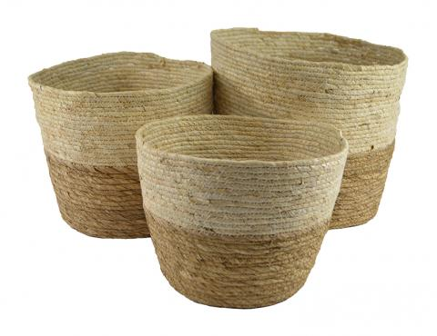Maize Two Tone Natural Baskets Baskets - Dusty Sea